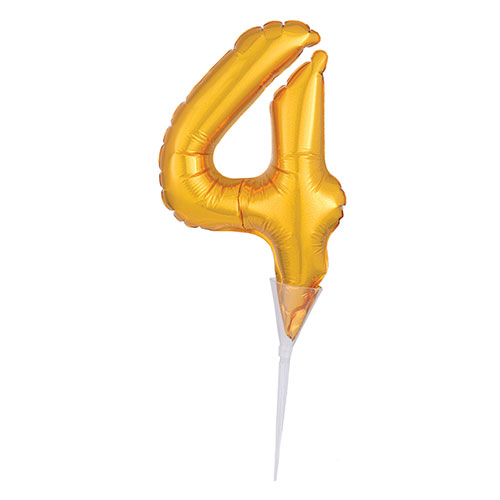 Gold Number 4 Air Fill Foil Balloon Cake Pick 30cm / 12Inch