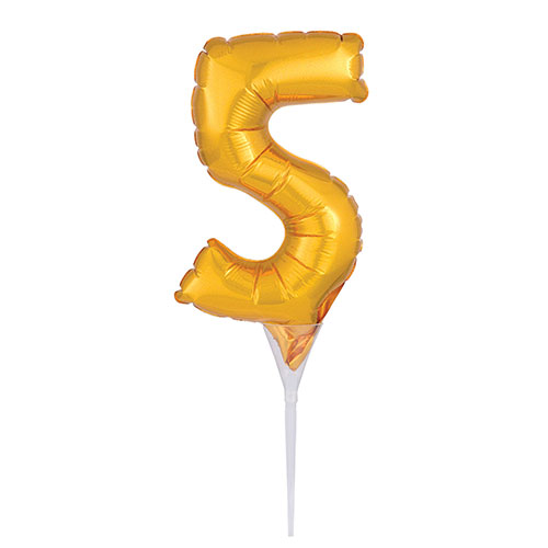 Gold Number 5 Air Fill Foil Balloon Cake Pick 30cm / 12Inch