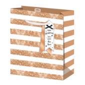 Gold Glitter Stripes Christmas Large Gift Bag 33cm