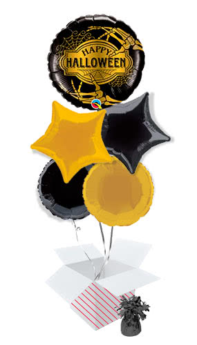 golden-skeleton-halloween-balloon-bouquet-5-inflated-balloons-in-a-box-product-image