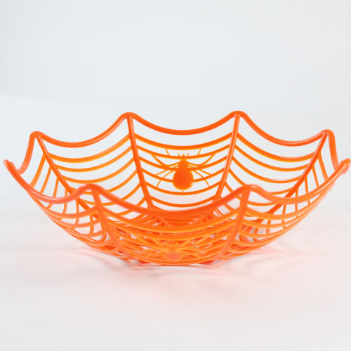 Halloween Orange Cobweb Plastic Basket 25cm