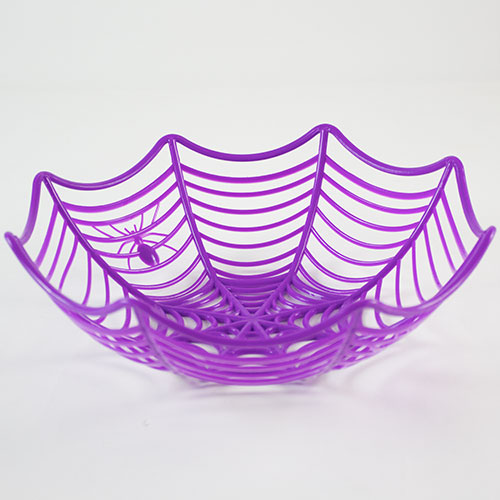 Halloween Purple Cobweb Plastic Basket 25cm