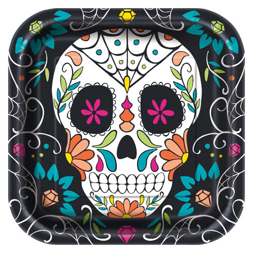 Halloween Day Of The Dead Skull Square Paper Plates 22cm - Pack of 8