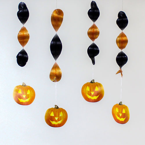 Halloween Glow Pumpkins Spiral Hanging Decorations - Pack of 4