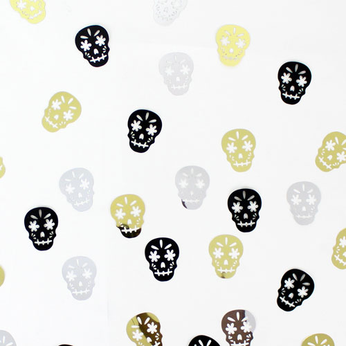 Halloween Metallic Skull Shape Table Confetti 14 Grams