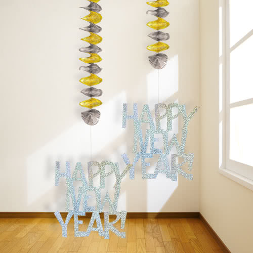New Year Prismatic Hanging Decorations 76cm - Pack of 2