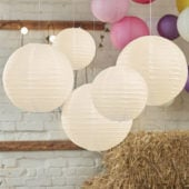 Ivory Paper Lantern Decorations – Pack of 5