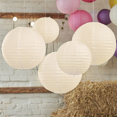 Ivory Paper Lantern Decorations - Pack of 5