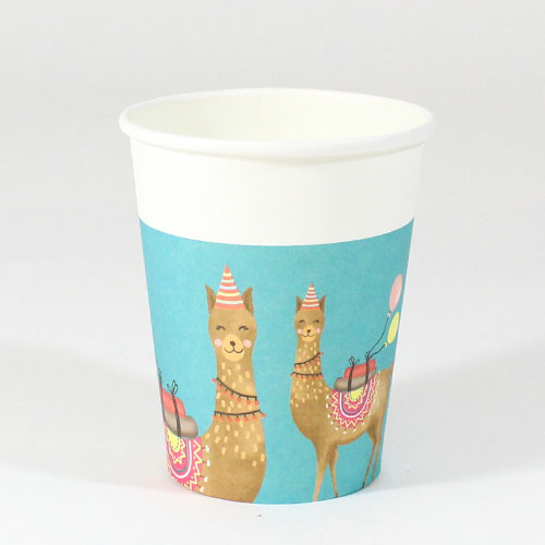 Llama Party Paper Cups 200ml - Pack of 8