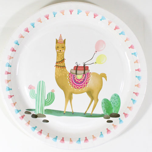 Llama Party Round Paper Plates 23cm - Pack of 8