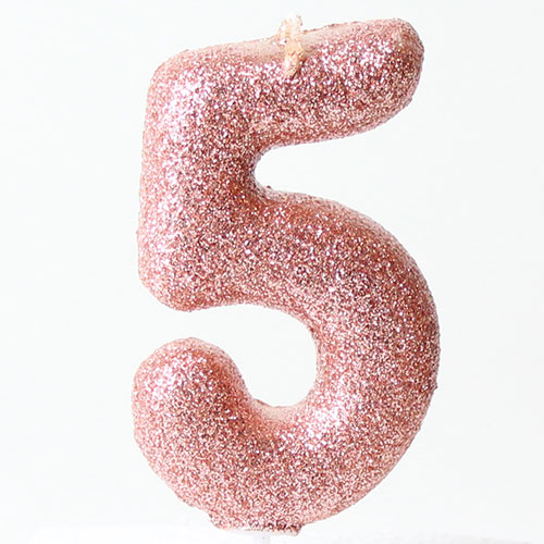 Number 5 Glitter Rose Gold Pick Moulded Cake Candle 9cm Product Image