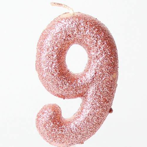 Number 9 Glitter Rose Gold Pick Moulded Cake Candle 9cm