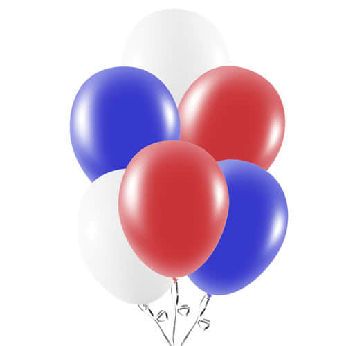 Red White And Blue Latex Balloons 23cm / 9Inch - Pack of 30