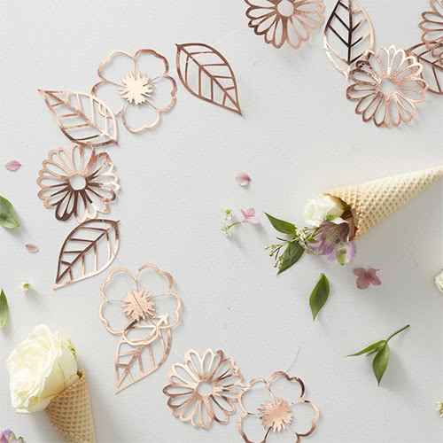 Rose Gold Foiled Flower Garland Decoration 3m