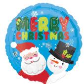 Santa And Snowman Christmas Round Foil Helium Balloon 43cm / 17Inch