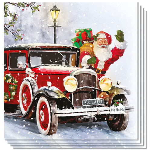 Santa Automobile Christmas Premium Luncheon Napkins 3Ply 33cm - Pack of 50