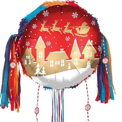 Santa Village Satin Infused Christmas Pull String Pinata