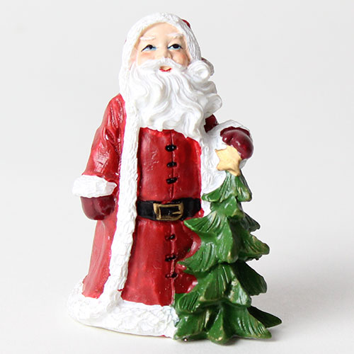 Santa With Tree Christmas Resin Cake Topper Decoration 6cm
