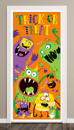 Silly Halloween Monsters Trick Or Treat Door Poster 152cm