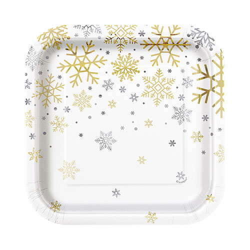 Silver And Gold Snowflakes Christmas Square Paper Plates 17cm - Pack of 8