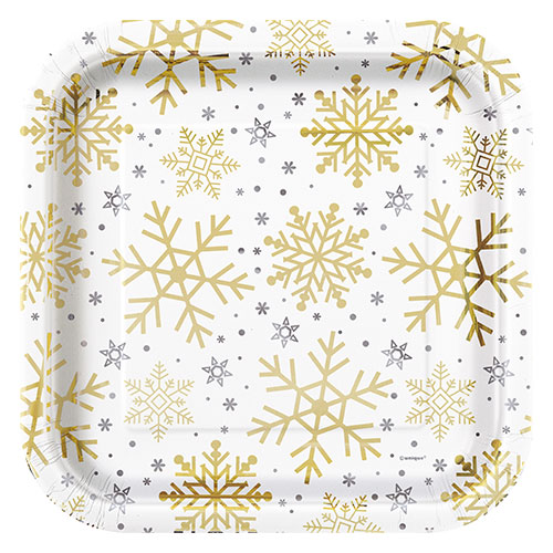 Silver And Gold Snowflakes Christmas Square Paper Plates 22cm - Pack of 8