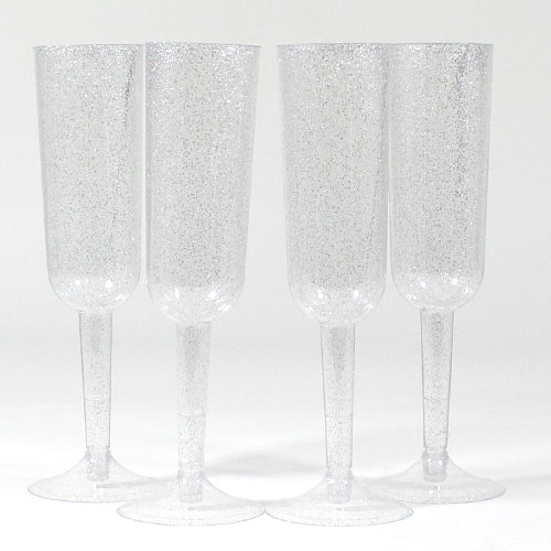 Silver Glitter Plastic Champagne Glasses - Pack of 4 Product Image