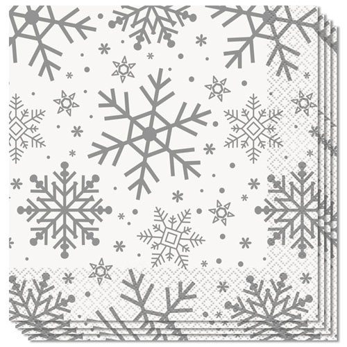 Silver And Gold Snowflakes Christmas Luncheon Napkins 33cm 2Ply - Pack of 16