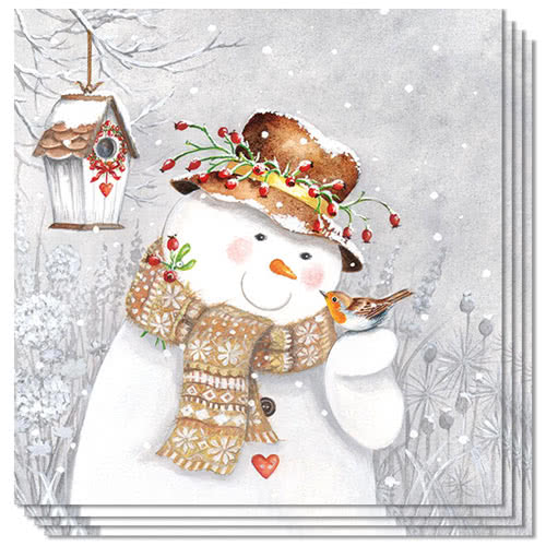 snowman-holding-robin-christmas-premium-luncheon-napkins-3ply-33cm-pack-of-50-product-image
