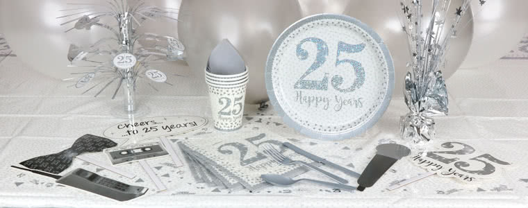 Sparkling Silver Anniversary Party Supplies Top Image