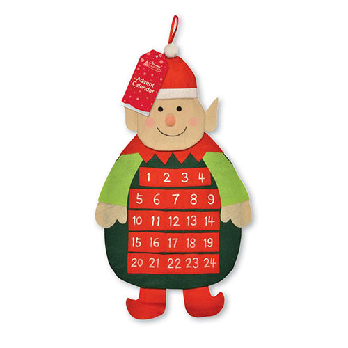 Elf Christmas Advent Calendar With Pockets 65cm