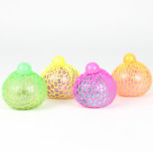 Stress Relief Squishy Squeeze Glitter Light Up Mesh Ball Toy 7cm