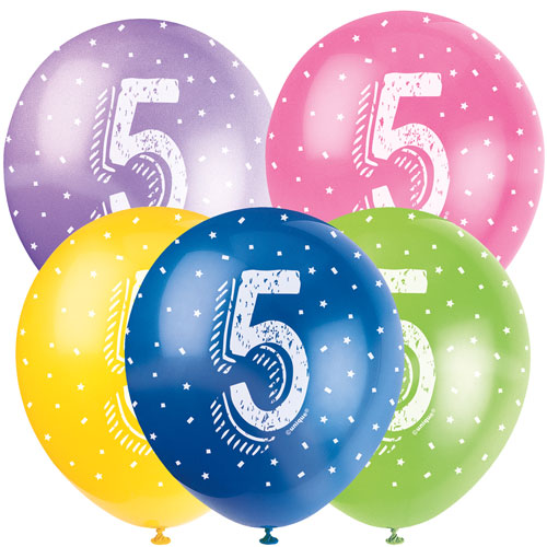 Age 5 Assorted Biodegradable Latex Balloons 30cm / 12Inch - Pack of 5