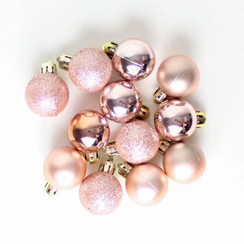 Assorted Christmas Rose Gold Baubles Hanging Decorations Pack Of 24 Partyrama