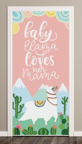 Baby Llama Door Cover PVC Party Sign Decoration 66cm x 152cm