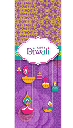 Happy Diwali Traditional Pattern Wall Poster PVC Party Sign Decoration 70cm x 25cm