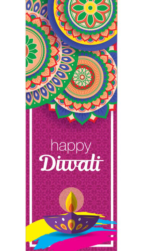 Happy Diwali Traditional Flowers Wall Poster PVC Party Sign Decoration 70cm x 25cm