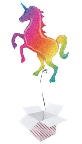 Glitter Rainbow Unicorn Holographic Helium Foil Giant Balloon - Inflated Balloon in a Box