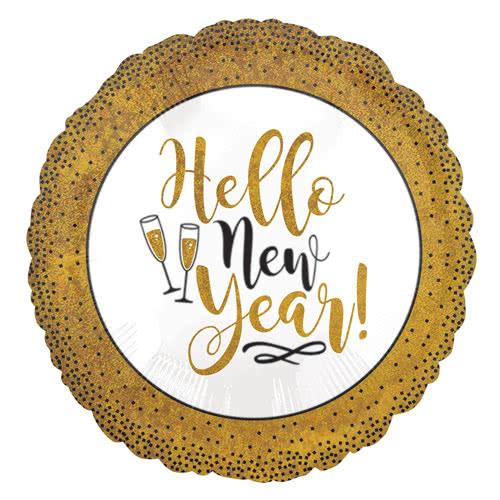 Gold Glitter Hello New Year Round Foil Helium Balloon 45cm / 18Inch