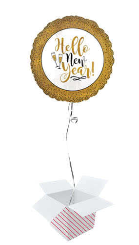 Gold Glitter Hello New Year Round Foil Helium Balloon - Inflated Balloon in a Box