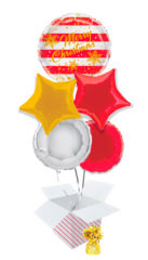 Gold Sparkle Christmas Balloon Bouquet – 5 Inflated Balloons In A Box