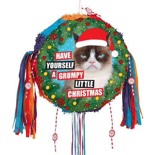 Grumpy Cat Christmas Holographic Pull String Pinata