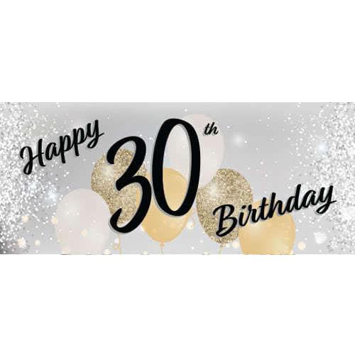 Happy 30th Birthday Silver PVC Party Sign Decoration 60cm X 25cm