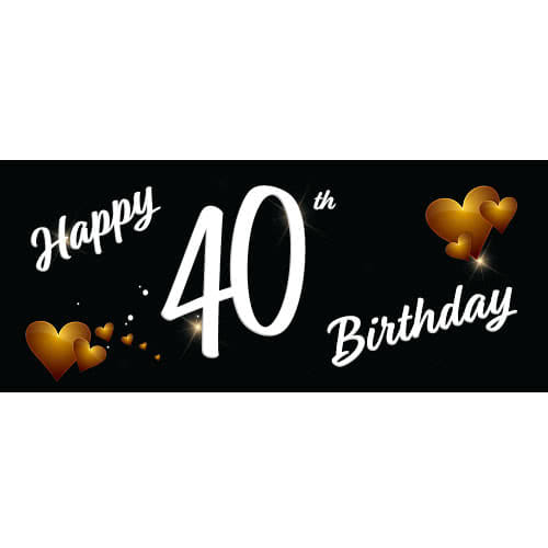 Happy 40th Birthday Black Pvc Party Sign Decoration