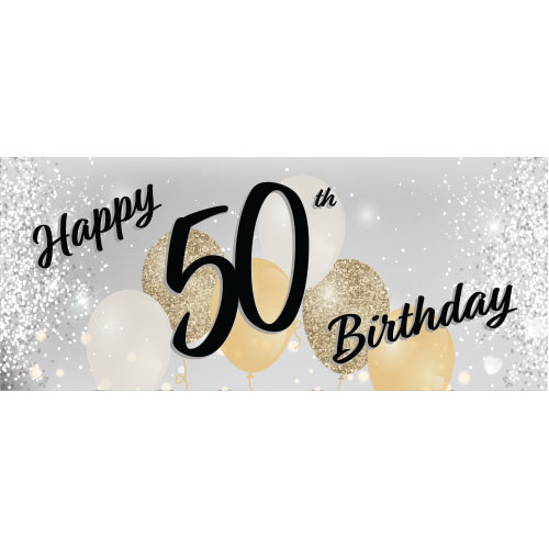 Happy 50th Birthday Silver Pvc Party Sign Decoration