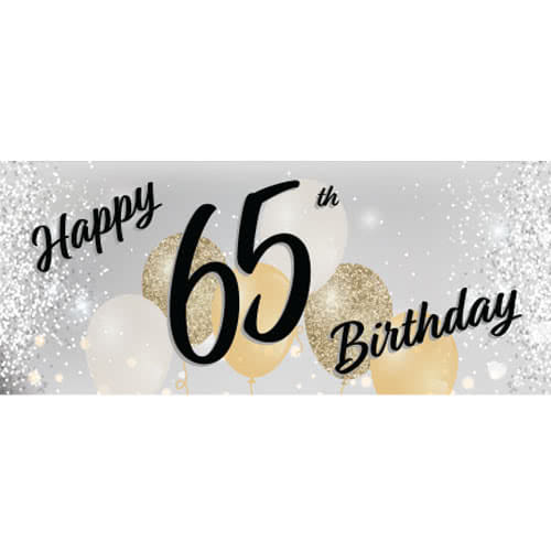 Happy 65th Birthday Silver PVC Party Sign Decoration 60cm x 25cm