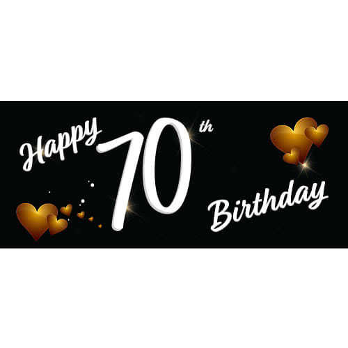 Happy 70th Birthday Black PVC Party Sign Decoration 60cm X 25cm