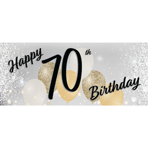 Happy 70th Birthday Silver PVC Party Sign Decoration 60cm X 25cm