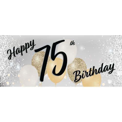 Happy 75th Birthday Silver PVC Party Sign Decoration 60cm x 25cm