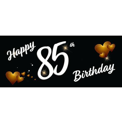 Happy 85th Birthday Black PVC Party Sign Decoration 60cm x 25cm