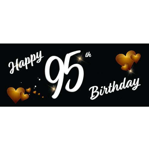 Happy 95th Birthday Black PVC Party Sign Decoration 60cm x 25cm